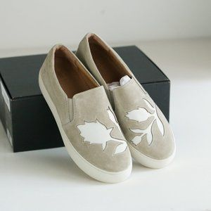 Frye Lena Suede Cutout Floral Slip on Grey White A